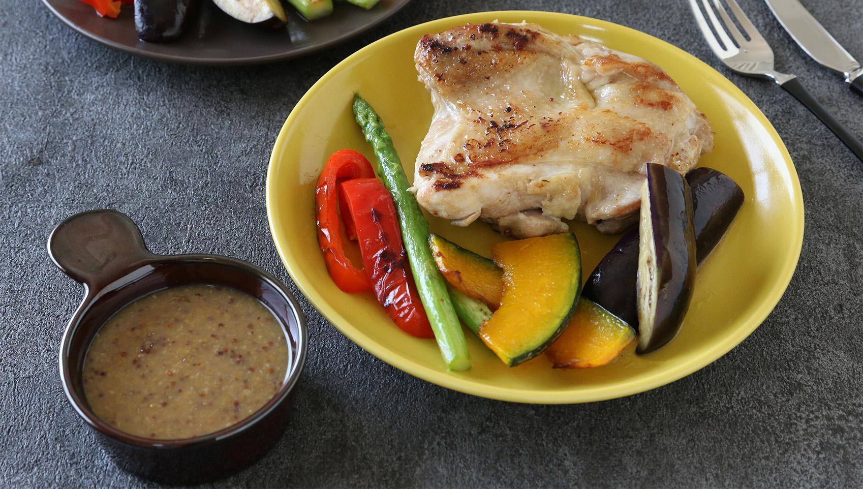 チキンと彩野菜のグリルハニージンジャーマスタードソース